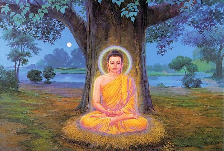 Phật Thích Ca Mâu Ni Ngồi Thiền Dưới Gốc Cây Bồ Đề